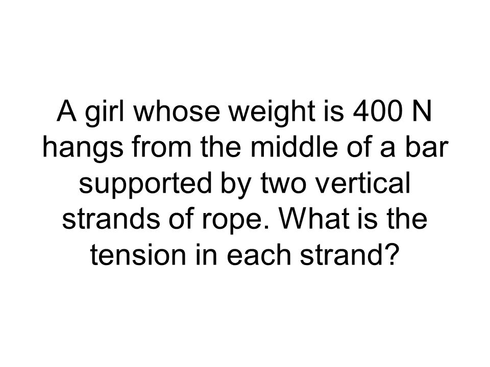 A girl whose weight is 400 N hangs from the middle of a bar supported by two vertical strands of rope.