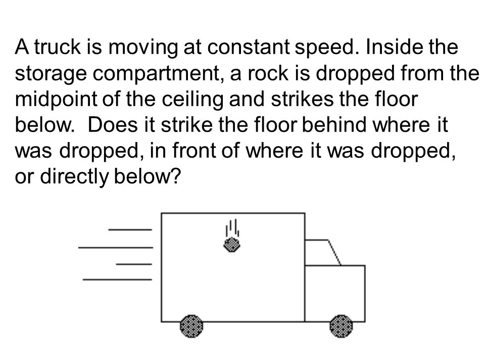 A truck is moving at constant speed