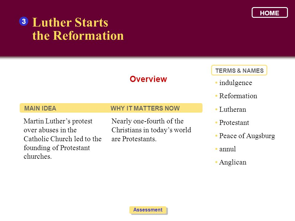 Luther Starts the Reformation Overview 3 • indulgence • Reformation