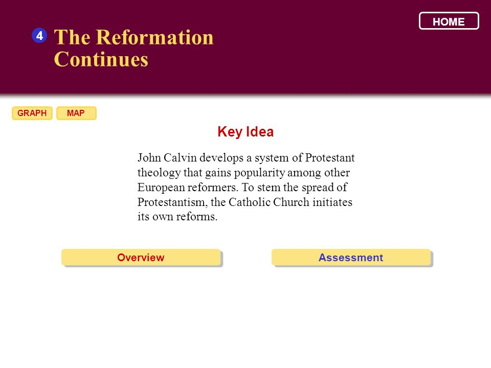 The Reformation Continues Key Idea 4