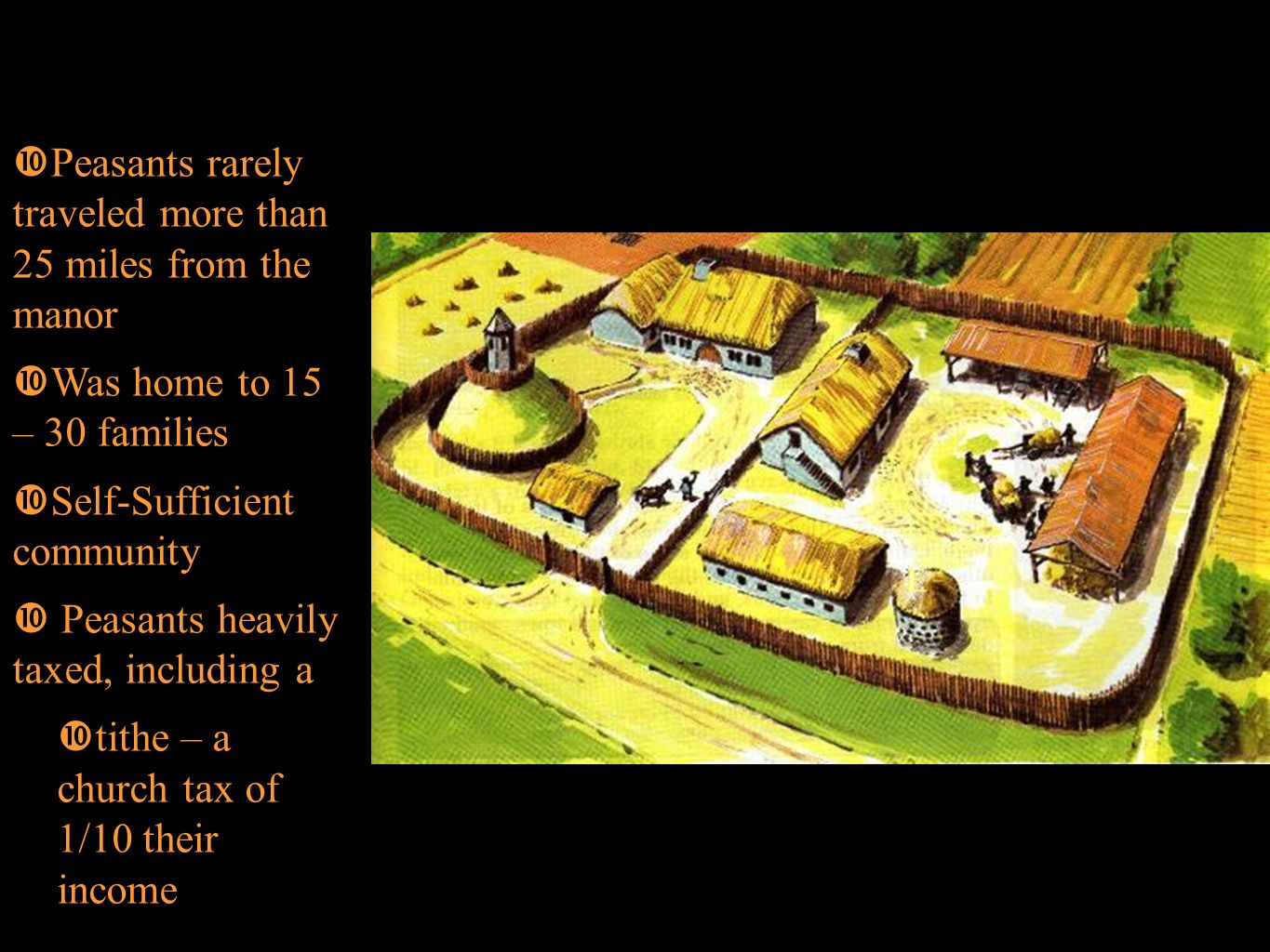 Feudalism Manors Peasants rarely traveled more than 25 miles from the manor. Was home to 15 – 30 families.