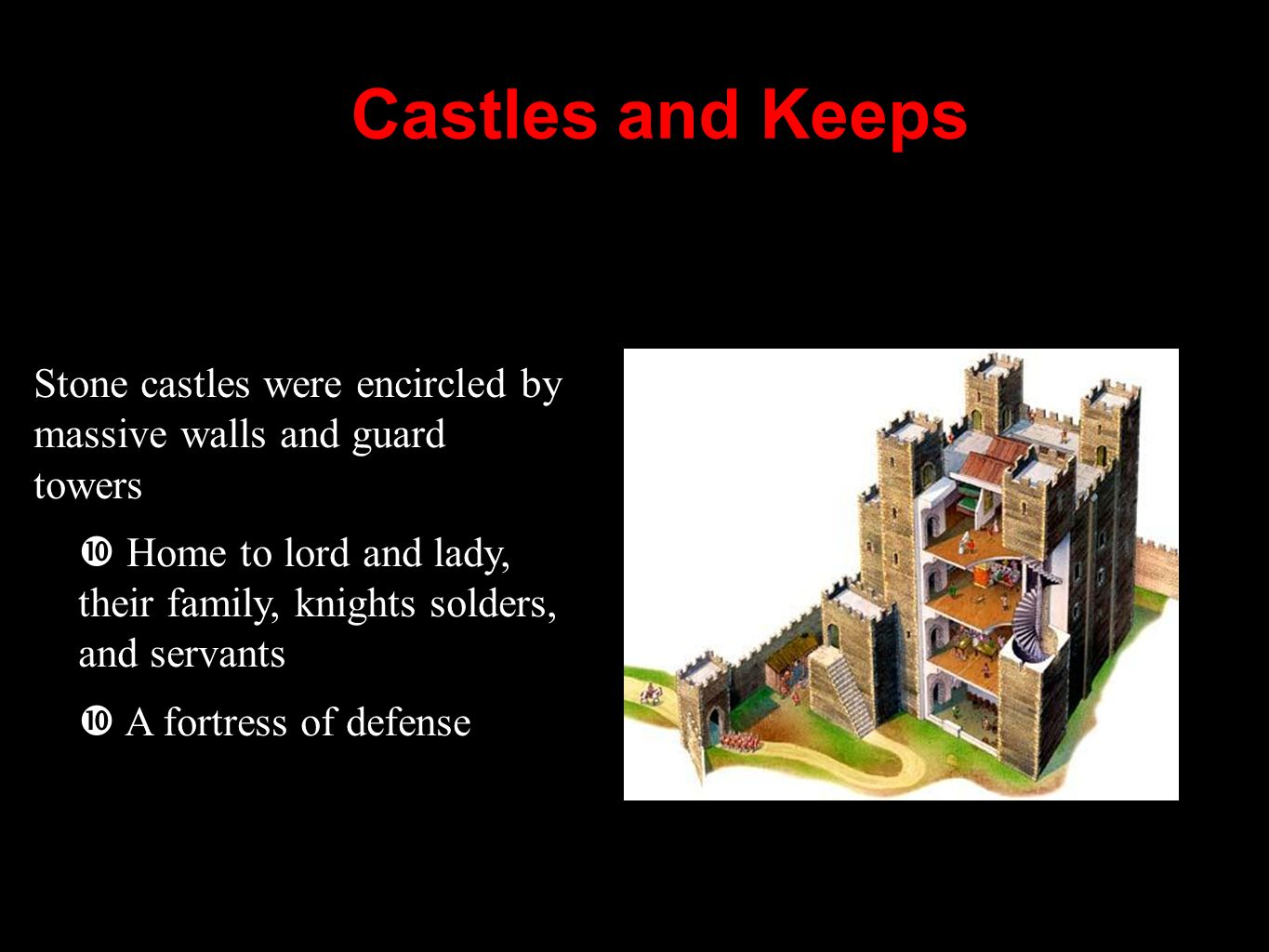 Castles and Keeps Stone castles were encircled by massive walls and guard towers.