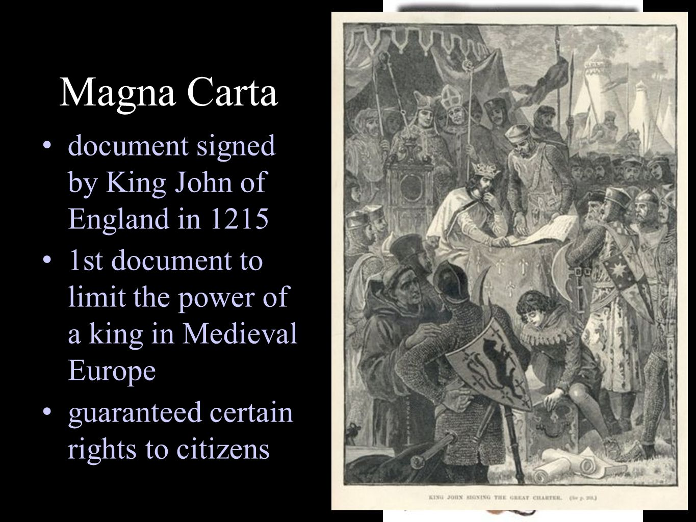 Magna Carta document signed by King John of England in 1215