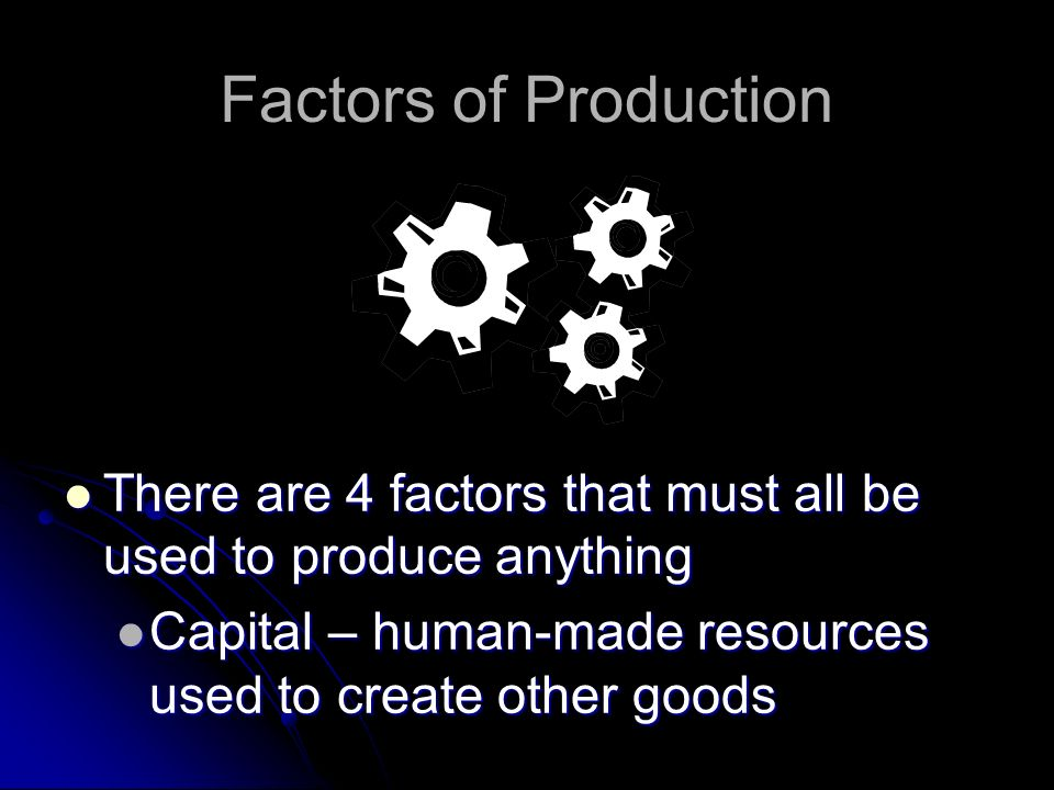 Factors of Production There are 4 factors that must all be used to produce anything.