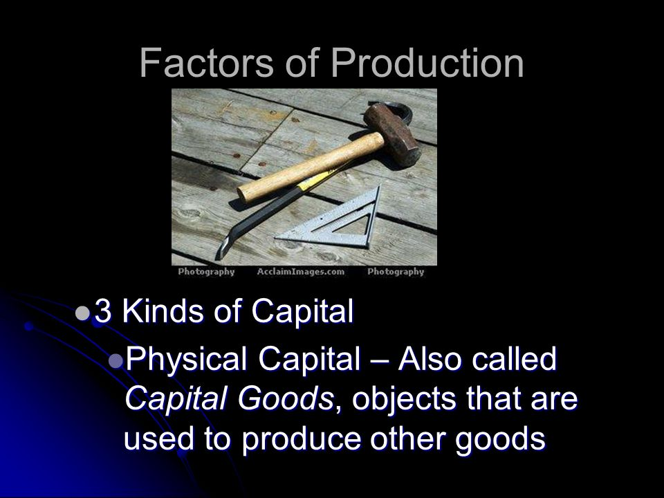 Factors of Production 3 Kinds of Capital
