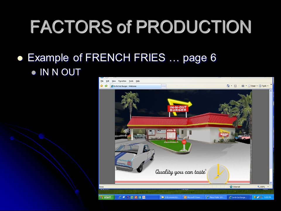 FACTORS of PRODUCTION Example of FRENCH FRIES … page 6 IN N OUT