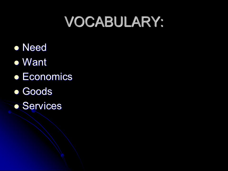 VOCABULARY: Need Want Economics Goods Services