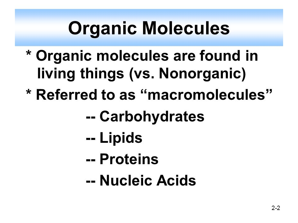 Organic Molecules * Organic molecules are found in living things (vs. Nonorganic) * Referred to as macromolecules