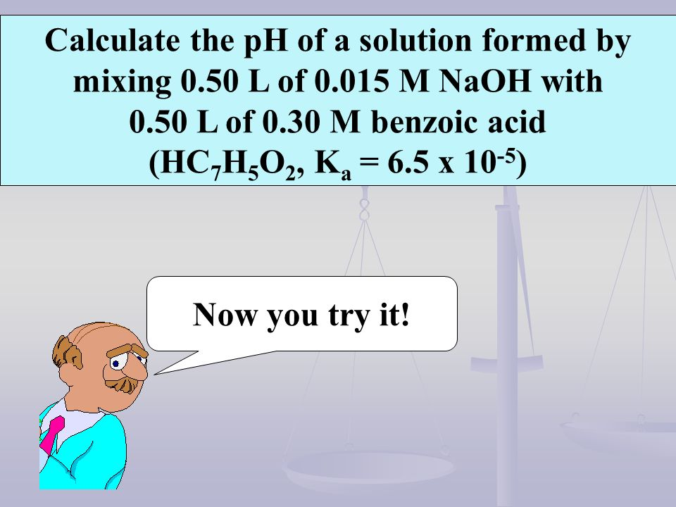 Calculate the pH of a solution formed by mixing L of 0