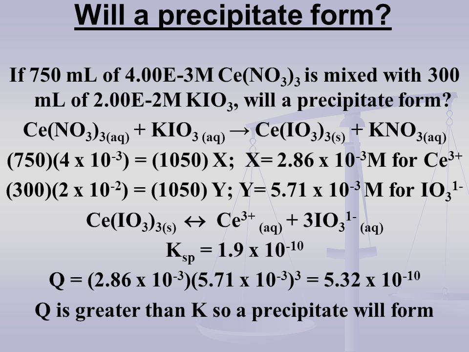 Will a precipitate form
