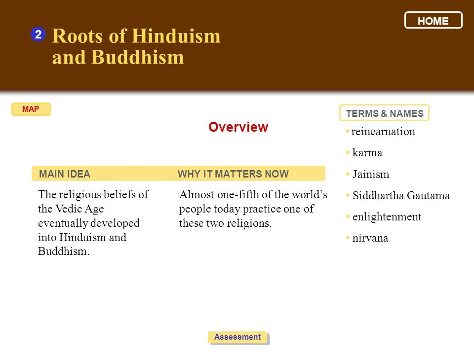 Roots of Hinduism and Buddhism Overview 2 • reincarnation • karma