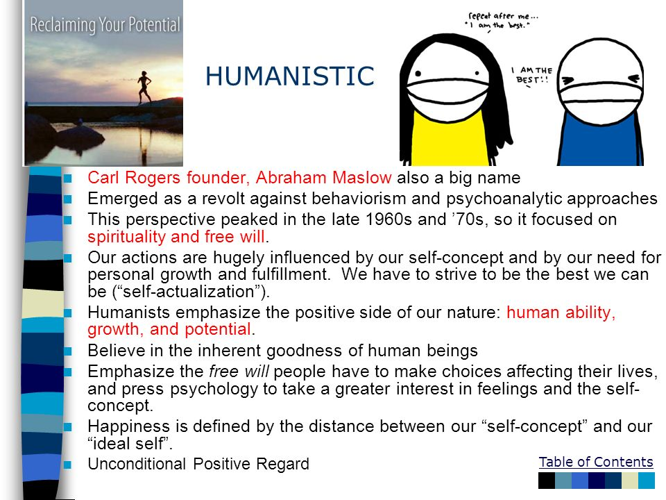 discuss the influences from humanistic psychology Examples of humanistic perspective by yourdictionary the humanistic perspective is an approach to psychology that emphasizes empathy and stresses the good in human.