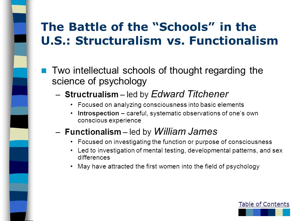 The Battle of the Schools in the U. S. : Structuralism vs