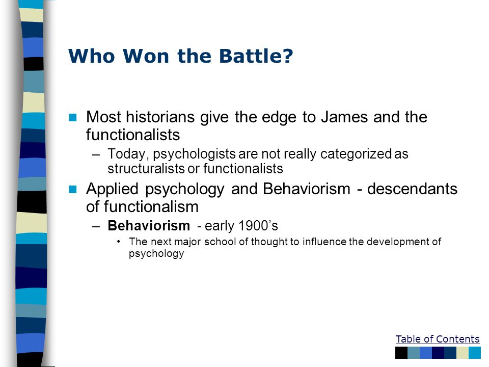 Who Won the Battle Most historians give the edge to James and the functionalists.
