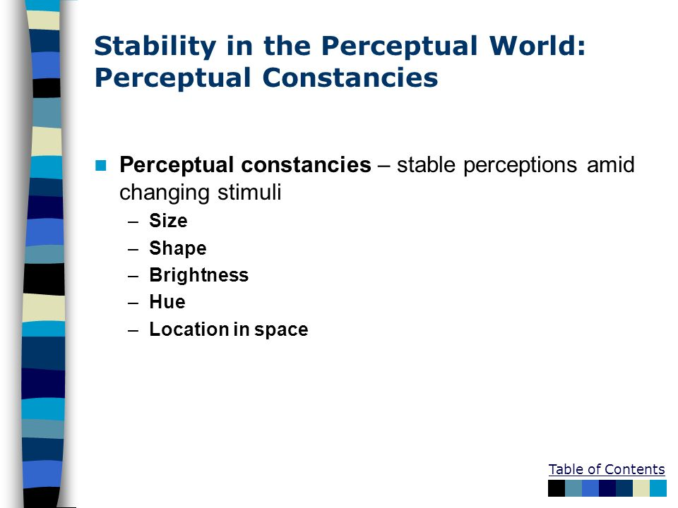 Stability in the Perceptual World: Perceptual Constancies
