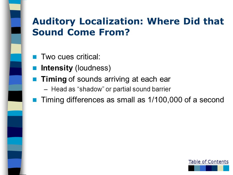 Auditory Localization: Where Did that Sound Come From