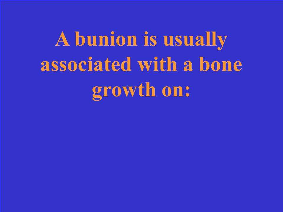A bunion is usually associated with a bone growth on: