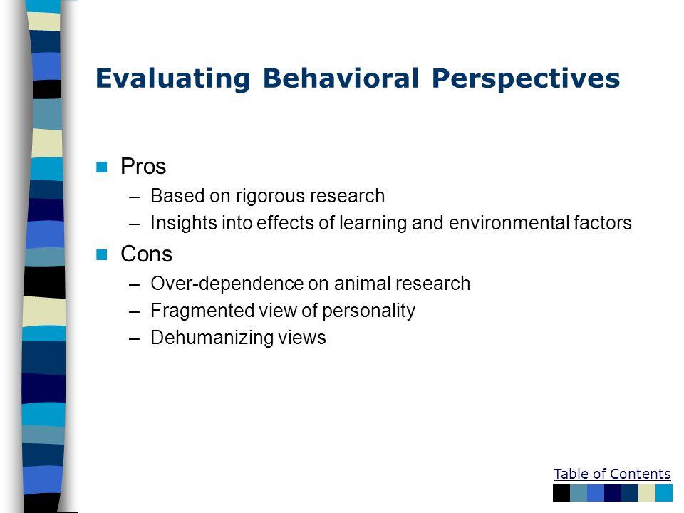 Evaluating Behavioral Perspectives