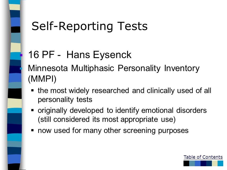 Self-Reporting Tests 16 PF - Hans Eysenck