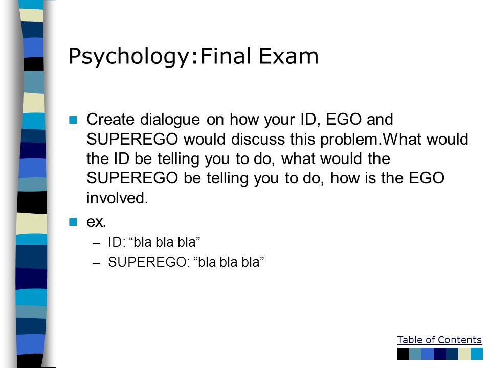 Psychology:Final Exam