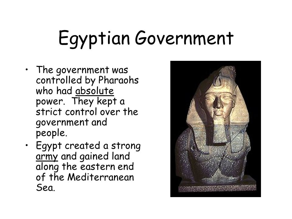 Egyptian Government The government was controlled by Pharaohs who had absolute power. They kept a strict control over the government and people.
