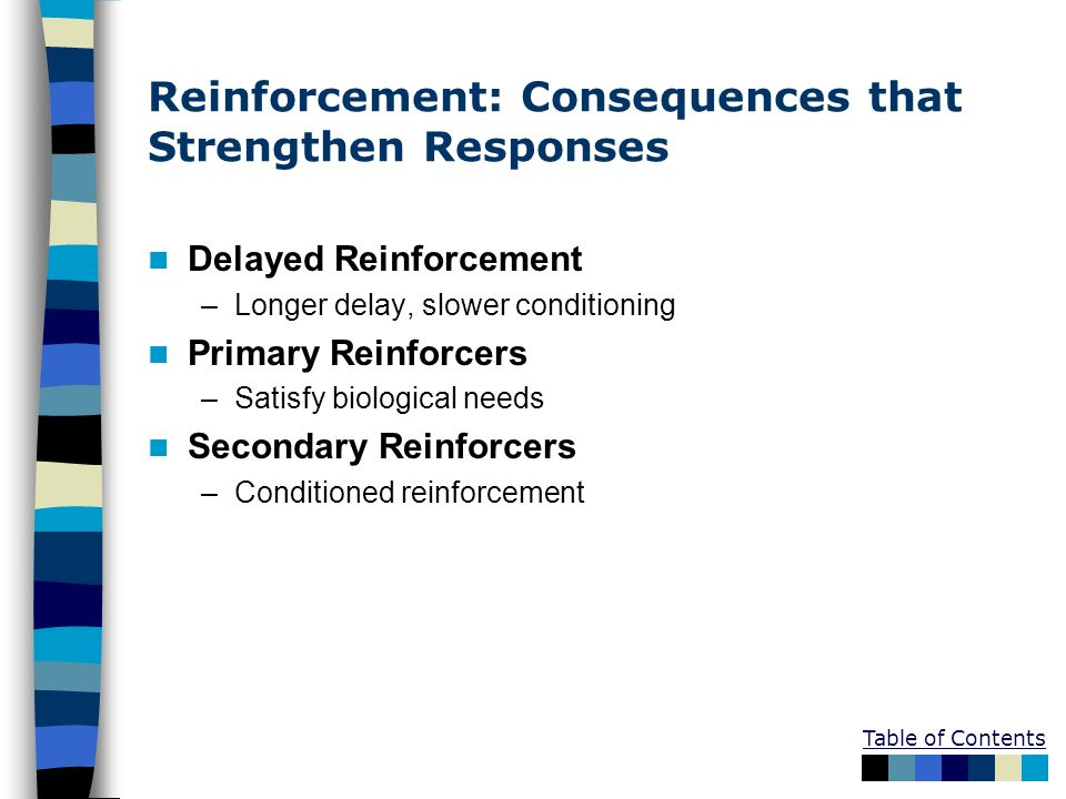 Reinforcement: Consequences that Strengthen Responses