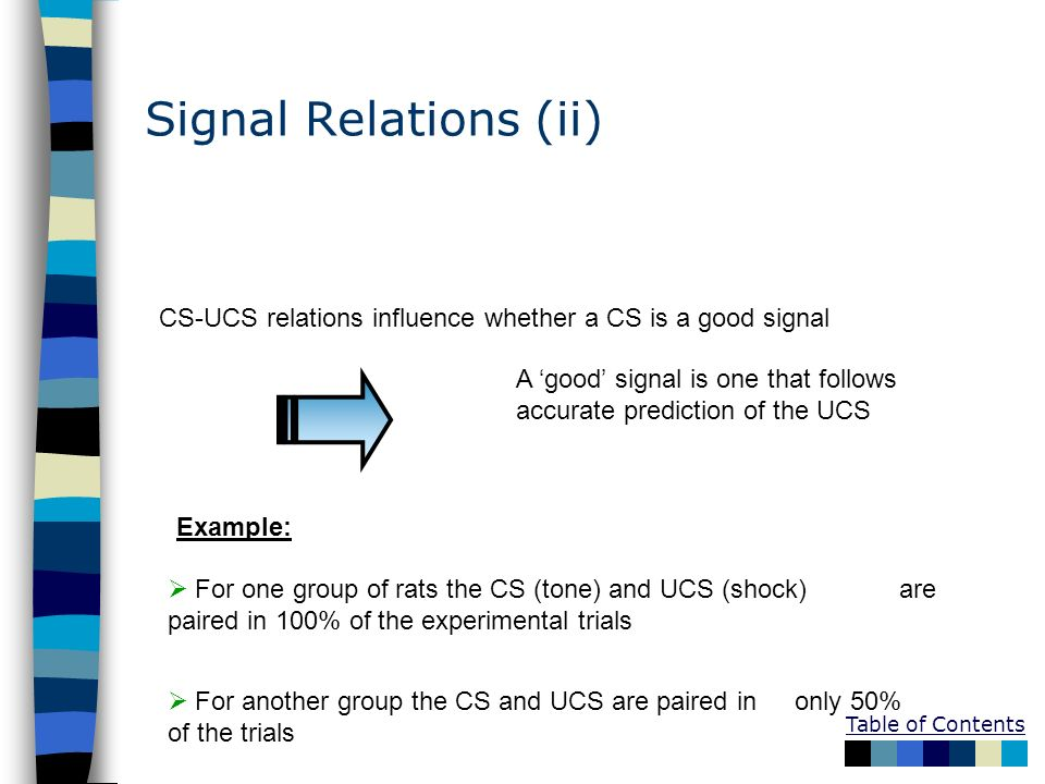 Signal Relations (ii) CS-UCS relations influence whether a CS is a good signal. A 'good' signal is one that follows accurate prediction of the UCS.