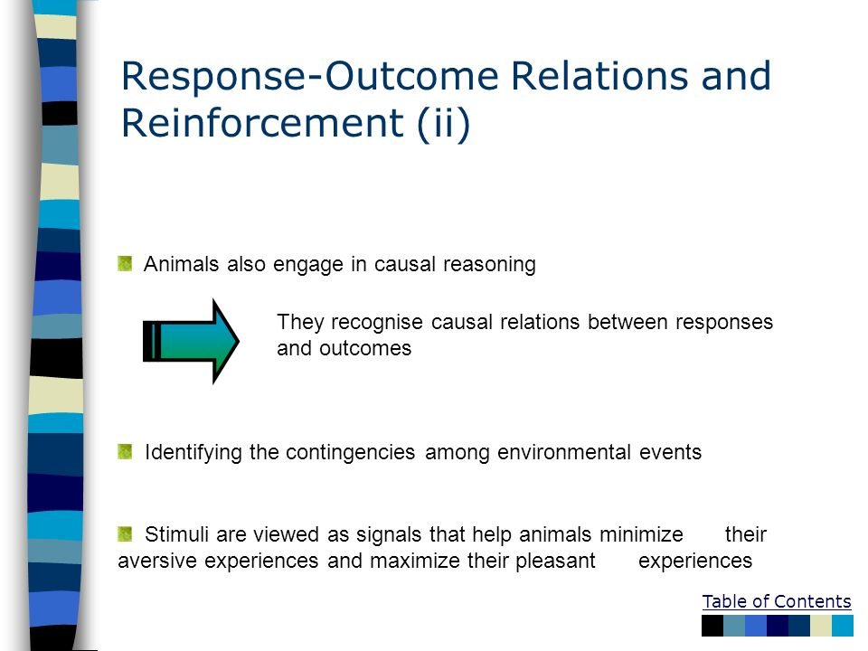 Response-Outcome Relations and Reinforcement (ii)