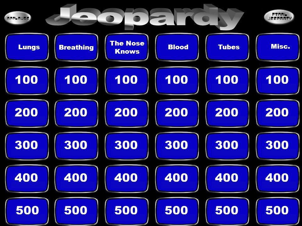 Jeopardy The Nose Knows. Lungs. Breathing. Blood. Tubes. Misc. 100. 100. 100. 100. 100. 100.