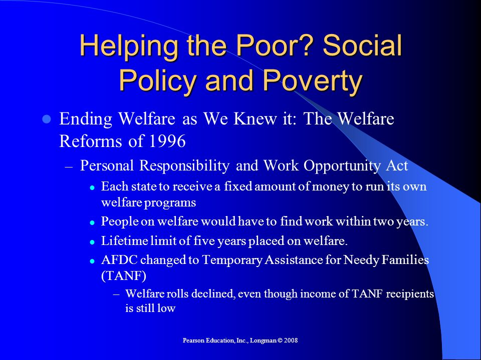 Helping the Poor Social Policy and Poverty