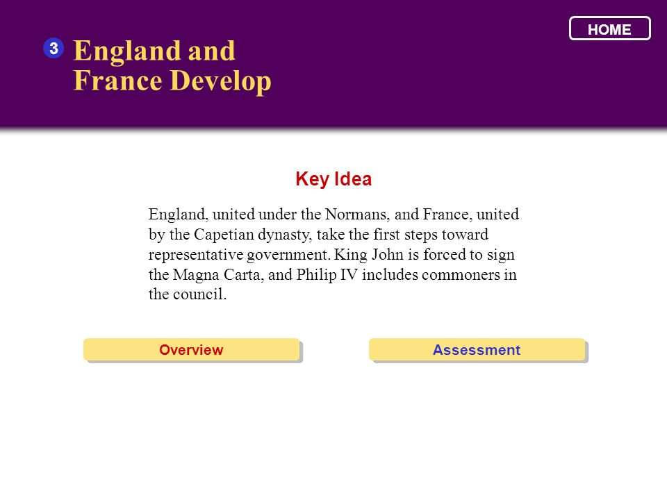 England and France Develop Key Idea 3
