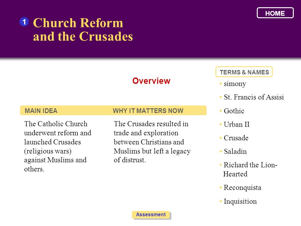 Church Reform and the Crusades Overview 1 • simony
