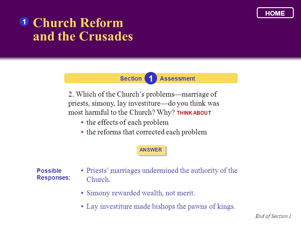 Church Reform and the Crusades 1 1