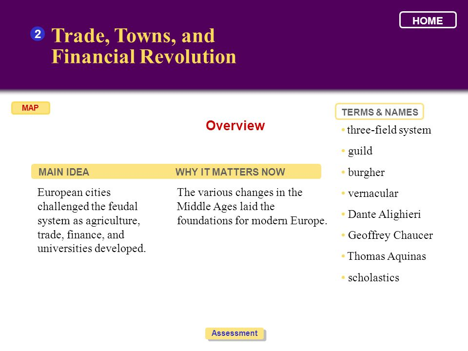 Trade, Towns, and Financial Revolution Overview 2 • three-field system