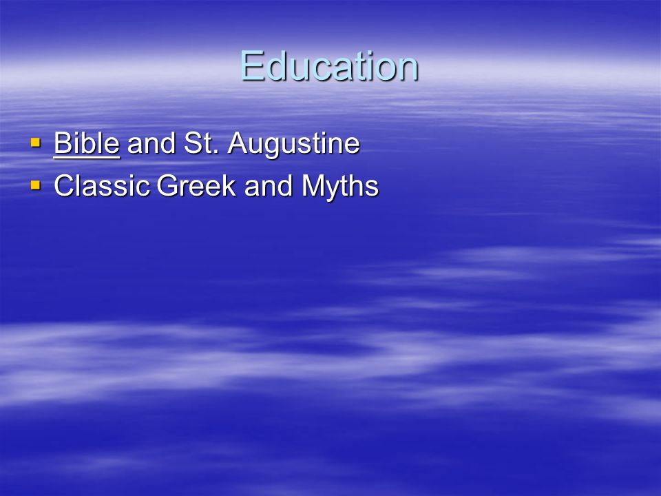 Education Bible and St. Augustine Classic Greek and Myths