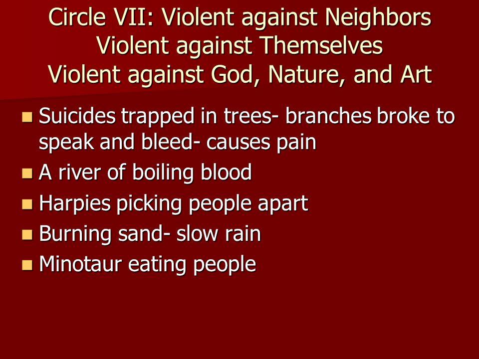 Circle VII: Violent against Neighbors Violent against Themselves Violent against God, Nature, and Art