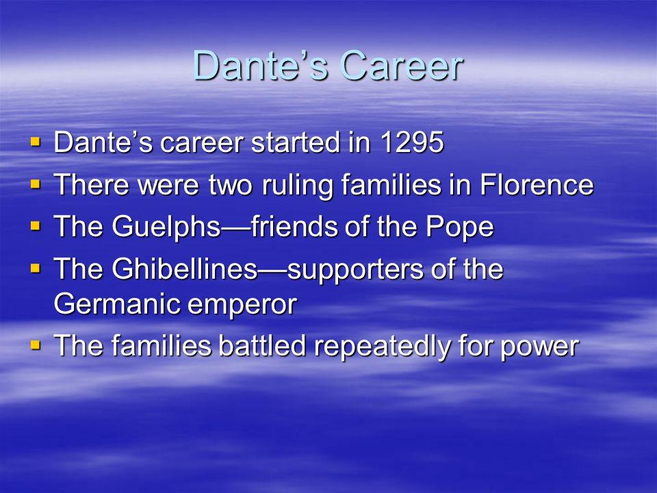 Dante's Career Dante's career started in 1295
