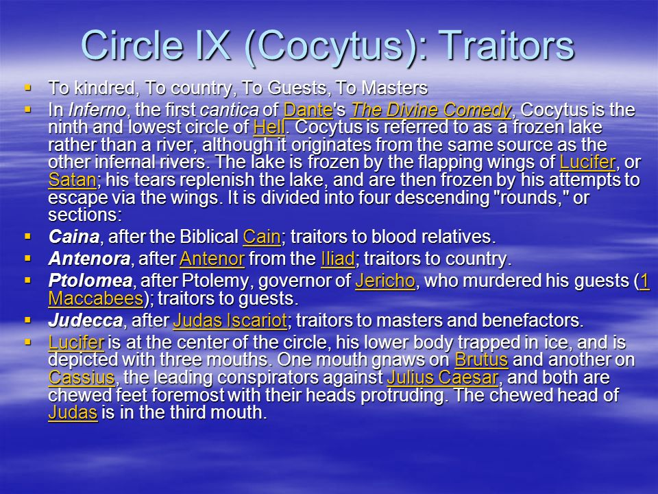 Circle IX (Cocytus): Traitors