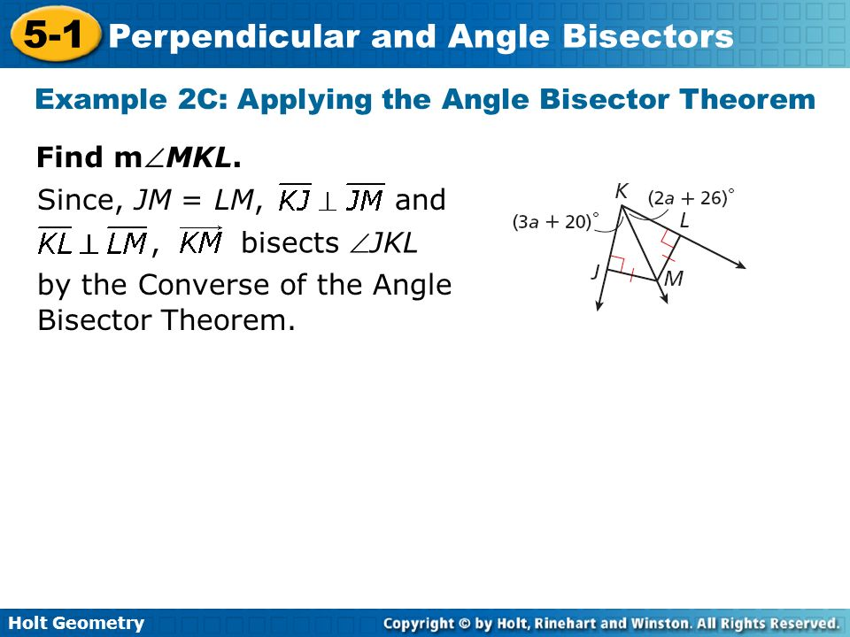 Example 2C: Applying the Angle Bisector Theorem