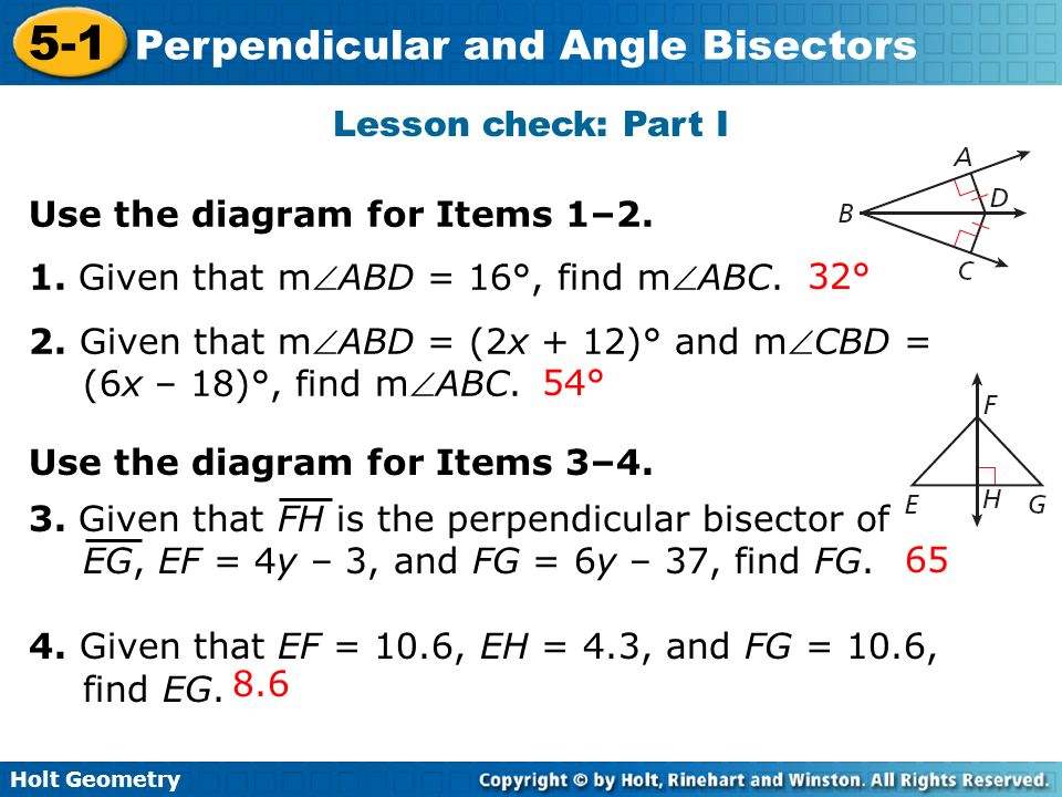 Lesson check: Part I Use the diagram for Items 1–2. 1. Given that mABD = 16°, find mABC.