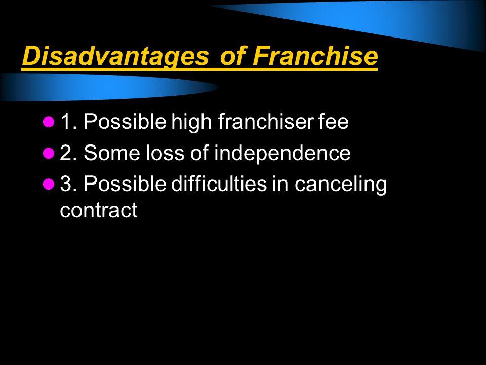 Disadvantages of Franchise