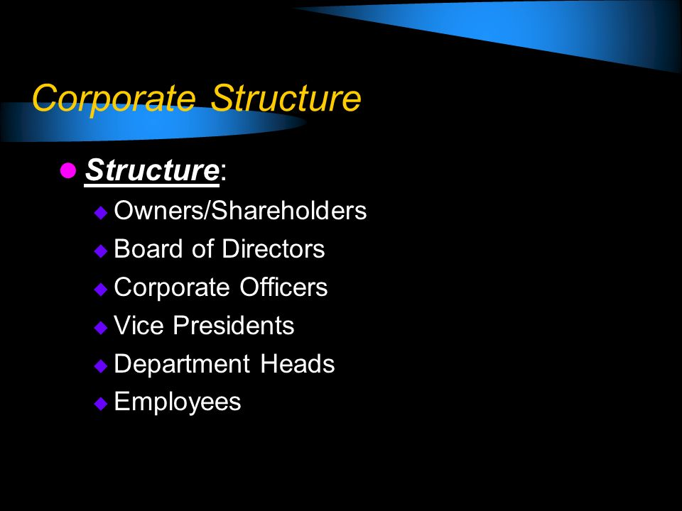 Corporate Structure Structure: Owners/Shareholders Board of Directors