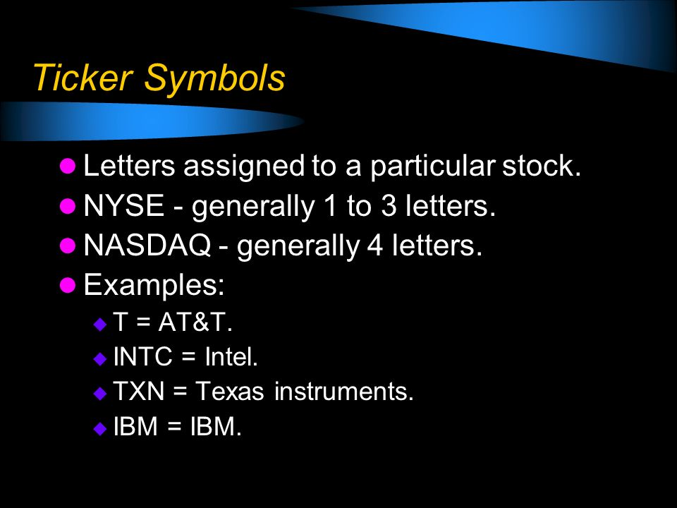 Ticker Symbols Letters assigned to a particular stock.