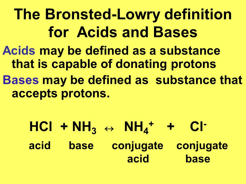 The Bronsted-Lowry definition for Acids and Bases
