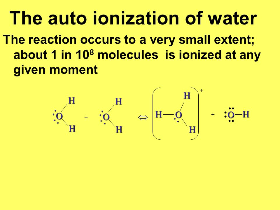 The auto ionization of water