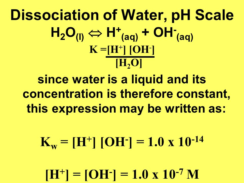 Dissociation of Water, pH Scale