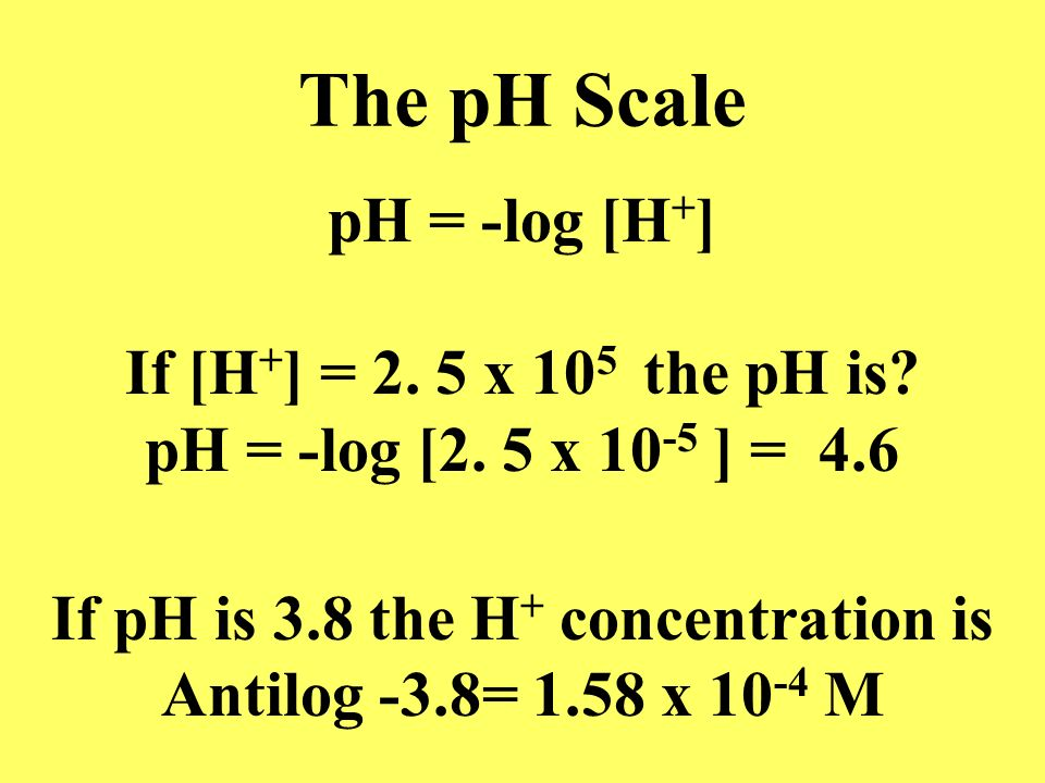 If pH is 3.8 the H+ concentration is
