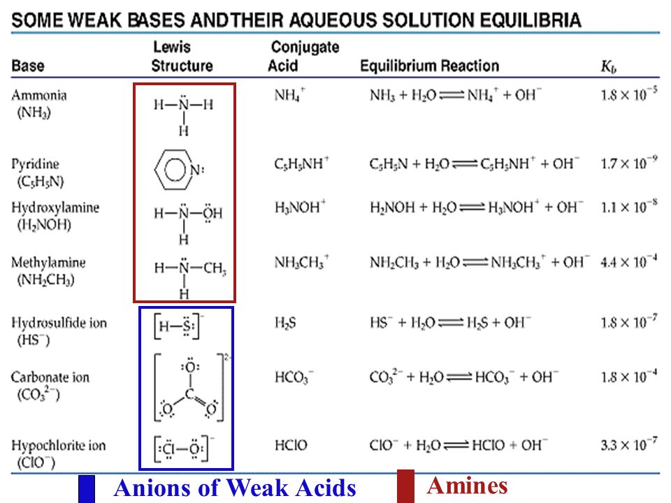 Anions of Weak Acids Amines