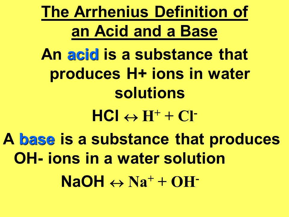 The Arrhenius Definition of an Acid and a Base
