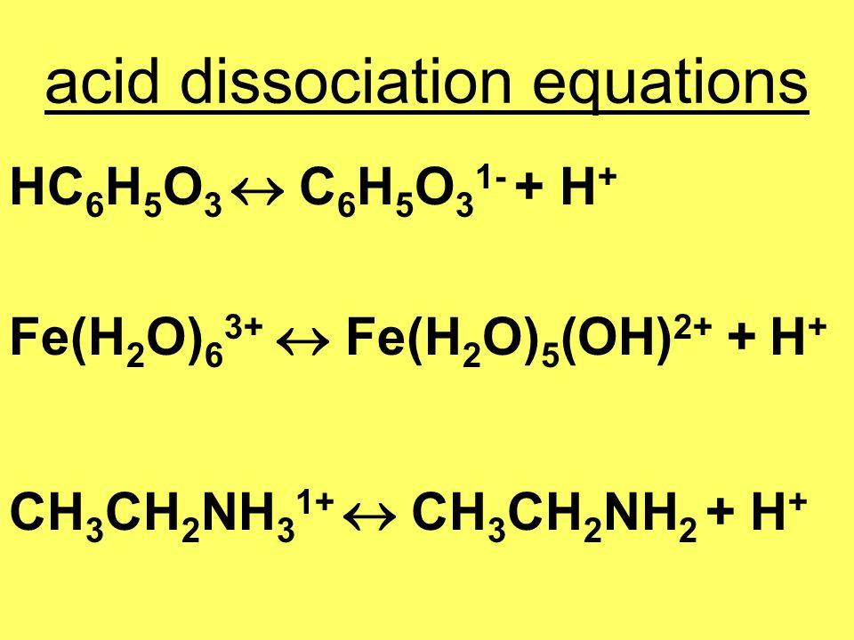 acid dissociation equations